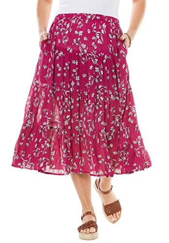 Women's Plus Size Crinkle Skirt Raspberry Dancing Tulip,18/20 (Solid Crinkle Skirt)