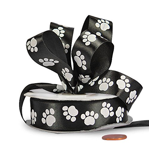 White Paw Print Black Satin Ribbon 5/8