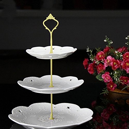 3 Tier Hardware Crown Cake Plate Stand Cupcake Dessert Display Stand Handle for Wedding Party Table Decor (Gold) by Baost (Image #2)