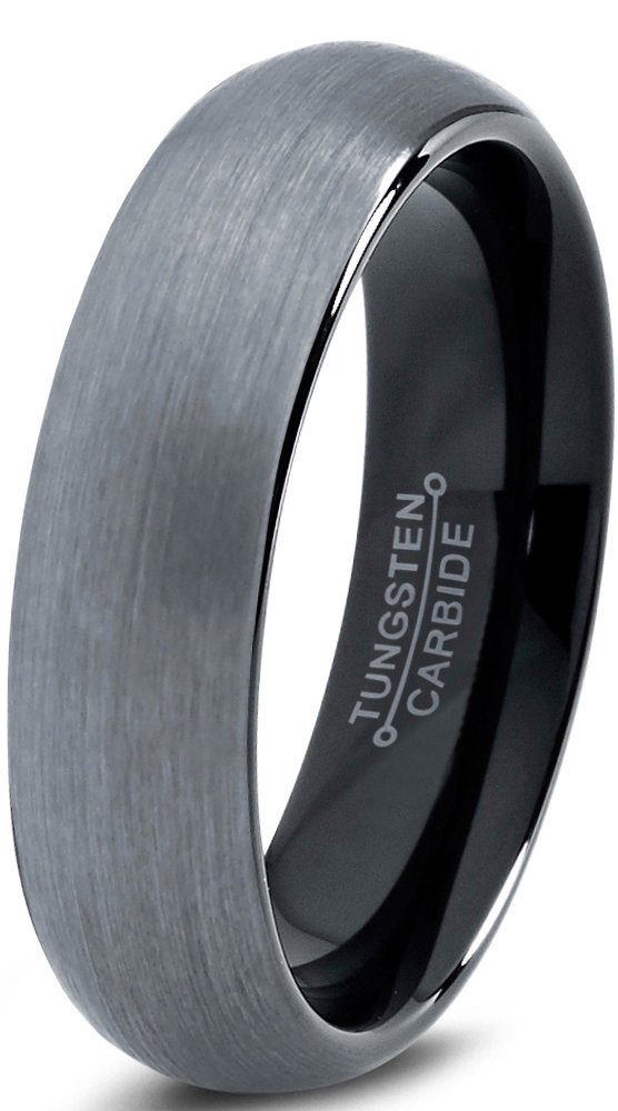 Charming Jewelers Tungsten Wedding Band Ring 6mm for Men Women Comfort Fit Black Domed Brushed Size 9.5