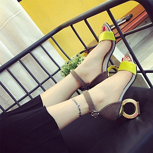 De Tacón El Cinco Thirty Todo Sandalias Espesor Forma Zapatos Cinta eight Y Khskx Con las Amarillo Toe Zichao Treinta Partido ESqTpxPwt