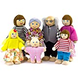Seanmi Dollhouse People, Dolls Family of 7 Poseable Wooden Doll