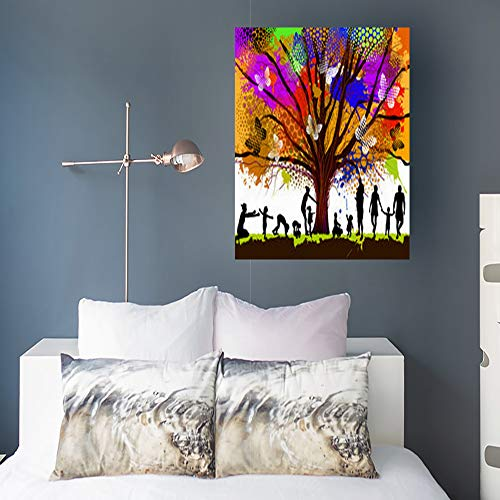 Alfredon Painting Canvas Wall Art Print Childhood Colorful Tree Nature Stretched Wooden Frame Artwork 16 x 16 for Home Decor Bedroom Living Room (Diversity Poster Pack)