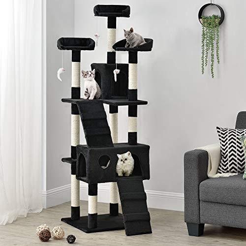 XXL Kratzbaum Amy schwarz – Katzenbaum mit Höhlen, Liegeflächen, Leitern & Sisal-Stämmen – Stabiler Kletterbaum für…