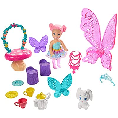 Barbie Dreamtopia Tea Party Playset with Barbie Fairy Doll, Toddler Doll, Tea Set, Pet and Accessories, Multi: Toys & Games