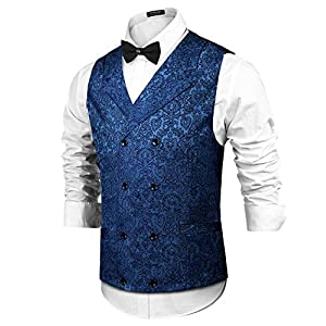 COOFANDY Mens Victorian Vest Steampunk Christmas Double Breasted Suit Vest Slim Fit Brocade Paisley Floral Waistcoat