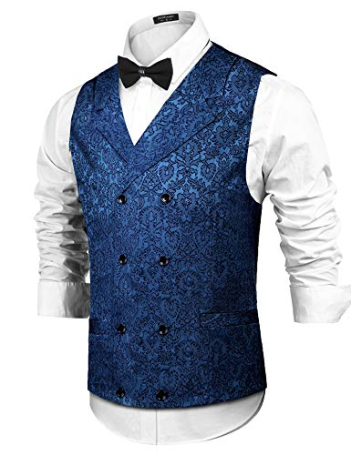 COOFANDY Mens Victorian Vest Steampunk Double Breasted Suit Vest Slim Fit Brocade Paisley Floral Waistcoat Navy Blue