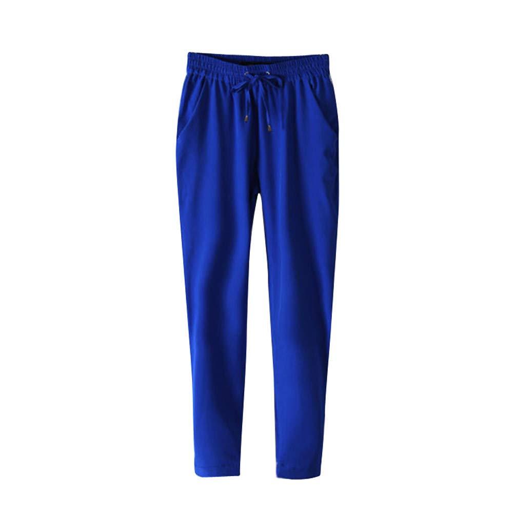 Kirbyates Pants Women Casual Soft Ultrathin Harem Pants Comfy Elastic Waist Full Length Straight Leg Pencil Trousers Blue