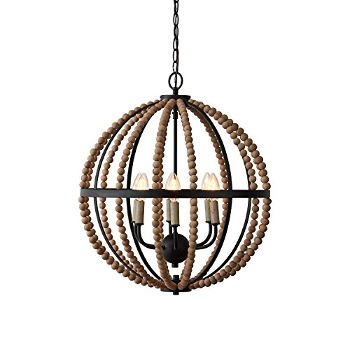 Stone & Beam Rustic Chandelier, 23″H, With Bulb, Matte Black with Wood Bead Shade 51if0MzXzqL   51if0MzXzqL