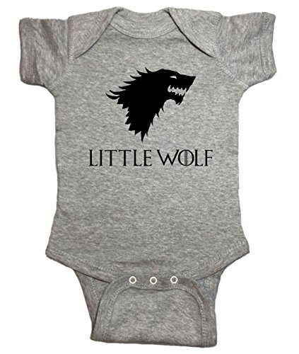 "Game Of Thrones Baby One Piece ""Little Wolf"" Bodysuit (6 Month, Heather Gray)"