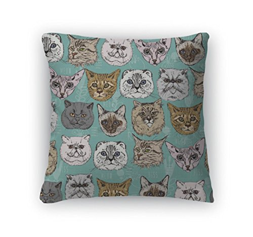 Gear New Zippered Pattern with Cats Square Pillow