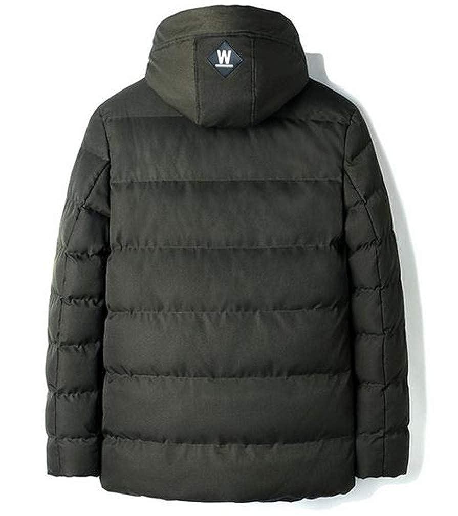 Lutratocro Mens Fleece Hoody Thicken Quilted Pocket Casual Jacket Anoraks Parka Coat