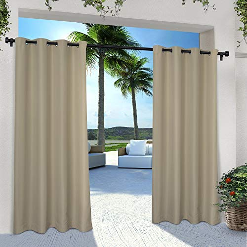 Exclusive Home Curtains Indoor/Outdoor Solid Cabana Window Curtain Panel Pair with Grommet Top, 54x96, Taupe, 2 Piece (Outdoor Cabana)