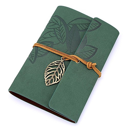 Green Leaf Leather - Biowow PU Leather Cover Loose Leaf Blank Vintage Dark Green Notebook Journal Diary