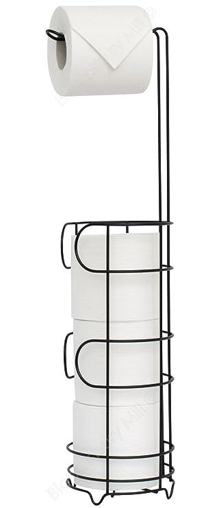 Bloomsbury Mill Freistehender Toilettenpapierhalter Für Badezimmer,  Ersatzrollen Stauraum, Rostbeständig, Schwarz