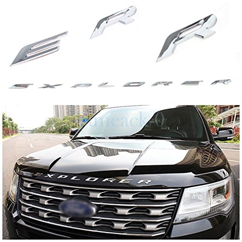 Exotic Store F-ERS 2011-2017 3D Metal (not plastic) Fit for Ford Explorer Sport Chrome Black Front Hood Emblem Letters Badge Decal (Chrome) ()