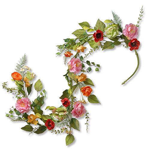National Tree 5 Foot Spring Floral Garland with Mixed Flowers and Green Leaves (RAS-150329-1) (Mantel For Fireplace Garland)