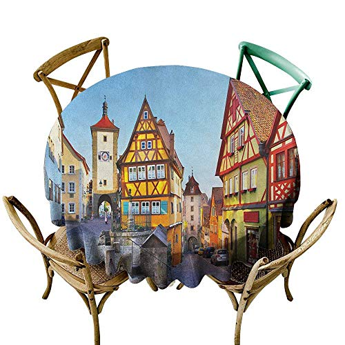 Wendell Joshua red Tablecloth 48 inch German,Rothenburg ob der Tauber Bavaria Germany Famous Street with Colorful Classic Houses, Multicolor Suitable for Indoor Outdoor Round Tables