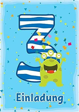 10 Einladungskarten 3. Kindergeburtstag Jungen Mädchen Lustige Monster  Dritte Geburtstag Geburtstagseinladungen Einladungen Geburtstagsparty  Kartenset