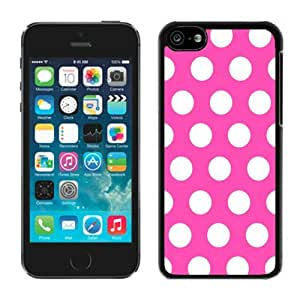 Awesome TPU Apple Iphone 5c Black Case Rose Red and White Dot Soft Silicone Cell Phone Spot Cover
