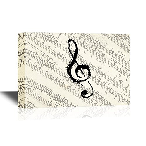 wall26 - Canvas Wall Art - Music Note on Vintage Musical Score Paper - Gallery Wrap Modern Home Decor | Ready to Hang - 24x36 inches (Vintage Music Pictures)