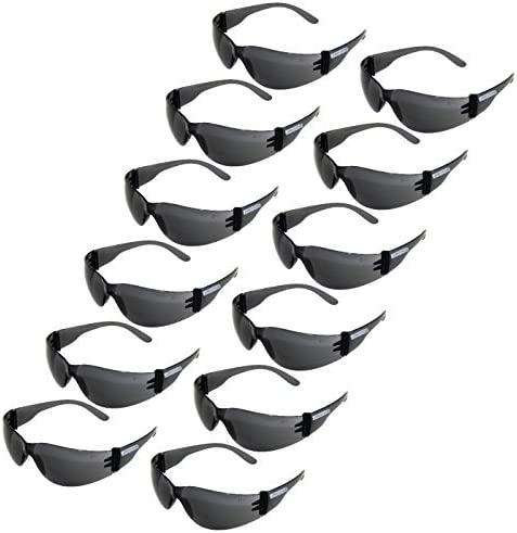 JORESTECH Eyewear Protective Safety Glasses, Polycarbonate Impact Resistant Lens Pack of 12 (Smoke) 51if2MqVu7L