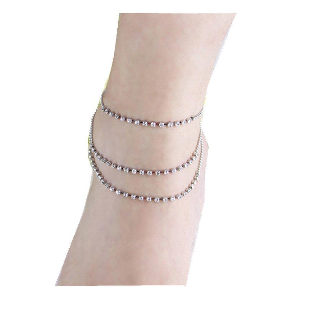 Infgreate Personalized bracelet Women Summer Beach 3 Rows Rhinestone Anklet Chain Ankle Bracelet Foot Jewelry