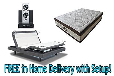 DynastyMattress 15.5-Inch AtlantisBreeze GEL Memory Foam Mattress with Reverie 8Q Adjustable Base Set Sleep System