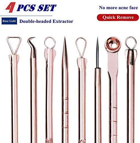 Blackhead Remover Kit,Comedone Extractor Tool, Anti-microbial Double-side 4 Pieces, Treatment for Blemish, Whitehead Popping, Zit Removing for Risk Free Nose