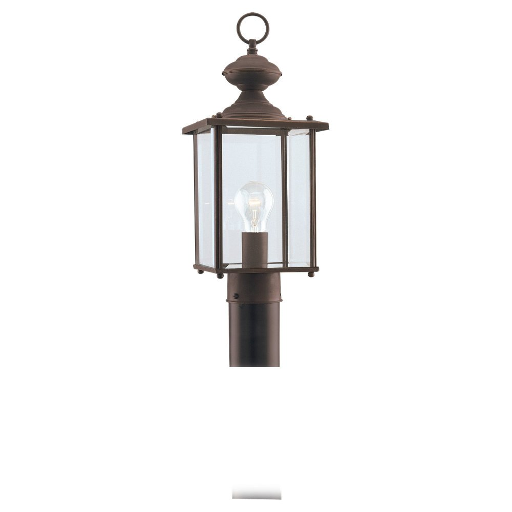 Sea Gull Lighting 8257-71 Single-Light Jamestowne Post Lantern with Clear Beveled Glass, Antique Bronze by Sea Gull Lighting
