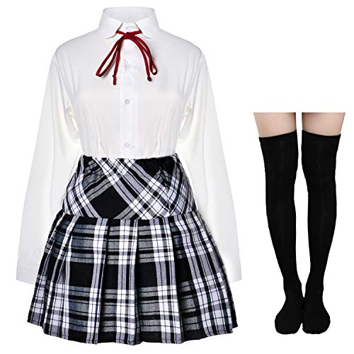Japanese School Girls Tartan Pleated School Uniform Skirt Dress Suit Cosplay Costume Anime Lolita with Socks Set(Black-White)(XL = Asia 2XL)(SSF22)
