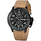 INFANTRY Mens Aviator Pilot Chronograph Military Analog Sports Wrist Watch with Brown PU Leather Band