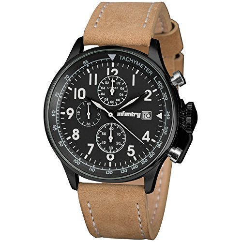 INFANTRY Mens Aviator Pilot Chronograph Military Analog Sports Wrist Watch Brown - Mens Watch Aviator