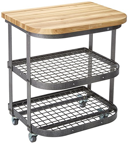 Enclume Baker's Cart, Base Only with Ash Butcher Block Top, Hammered Steel ()