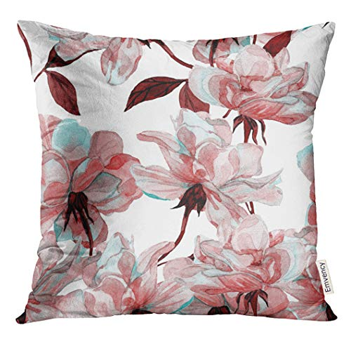 Golee Throw Pillow Cover Blue Flower Watercolor Rose Floral Colorful Maroon Allover Decorative Pillow Case Home Decor Square 20x20 Inches Pillowcase (Throw Pillows Burgundy And Brown)