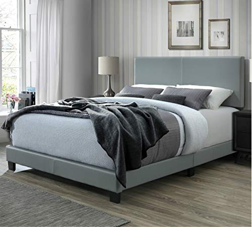 - DG Casa Kelly Upholstered Panel Bed, Queen in Grey Faux Leather