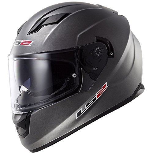 LS2 Stream Solid Full Face Motorcycle Helmet With Sunshield (Matte Titanium, Large)