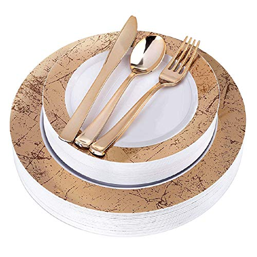 Gold Plastic Party Plates and Plastic Silverware - 125 Piece Marble Reusable Plates and Disposable Cutlery for Event, Reception, Buffet - Service for 25 Guests Disposable Wedding Plates (Gold Marble)