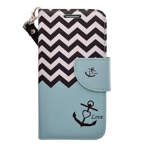 Teal Anchor Protective PU Leather Wallet Case w/Wrist Strap for LG Spirit