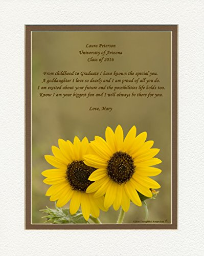 Personalized Goddaughter Graduation Gift with ''From Childhood to Graduate'' Poem, Sunflowers Photo, 8x10 Double Matted. Special Keepsake Graduation Gifts for Goddaughter by Graduation Gifts Personalized