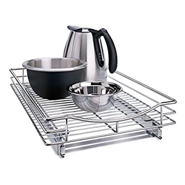Lynk Professional Roll Out Cabinet Organizer - Pull Out Under Cabinet Single Sliding Shelf - Chrome - Multiple Sizes