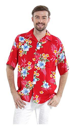Hawaii Hangover Men's Hawaiian Shirt Aloha Shirt L Hibiscus Red