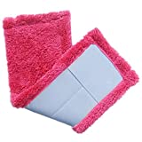 Coral Velet Microfiber Mops Pads, callm Cleaning Accessories Reusable Household Dust Mop Replacement Washable Head Pads (Hot Pink)