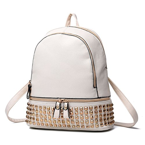 VINICIO Women's Fashionable Joker Personality Rivet Preppy Style Casual Schoolbag Backpack Travelling Bag(White) (Shoping Furniture)