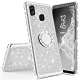 Miagon Bling Case for Galaxy M20,Shiny Sparkle Electroplated Diamond Frame Glitter Skin 360 Degree Ring Stand Silicone Bumper Protective Case Cover for Samsung Galaxy M20