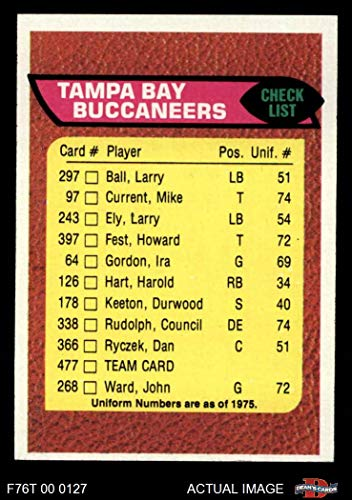 1976 Topps # 477 Buccaneers Team Checklist Tampa Bay Buccaneers (Football Card) Dean's Cards 6 - EX/MT Buccaneers