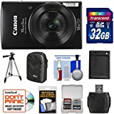 Canon PowerShot Elph 190 is Wi-Fi Digital Camera (Black) 32GB Card + Case + Battery + Tripod + Kit