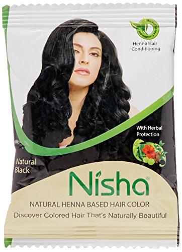 - Nisha 10g Natural Color Hair Henna (pack of 5) with free Sahiba Hair dye Brush (Natural Black)