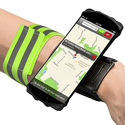 SENHAI Sports Forearm Phone Holder with Reflective Armband, 180 Degree Rotatable Workout Wristband Cell Phone Mount for Running Cycling Gym Jogging Hiking Walking - Black by SENHAI