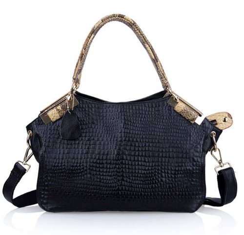 VIVILLI Crocodile Print Leather Handbag-Black, Bags Central